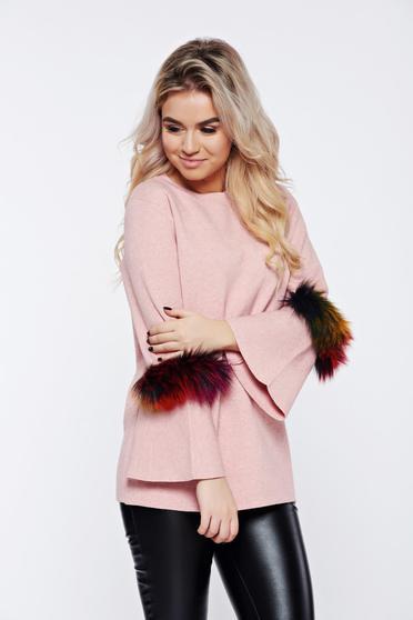 Rózsaszínű hétköznapi kötött pulóver műszőrme berakások 2d1cab19cb