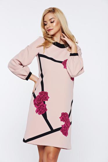 Timeless romance rózsaszínű StarShinerS virágmintás elegáns bő szabású ruha