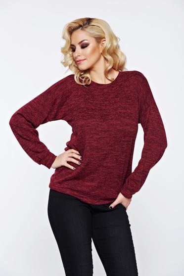 Burgundy PrettyGirl hétköznapi kötött bő szabás pulóver nyomtatott mintával