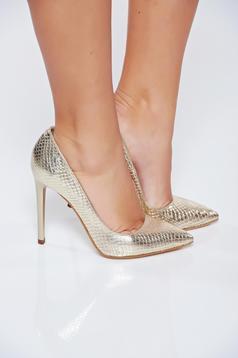 Arany stiletto elegáns műbőr magassarkú cipő