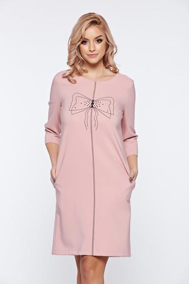 Rózsaszínű LaDonna hétköznapi bő szabás ruha hímzett betétekkel