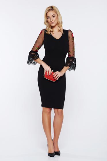 Fekete Fofy alkalmi hímzett ruha