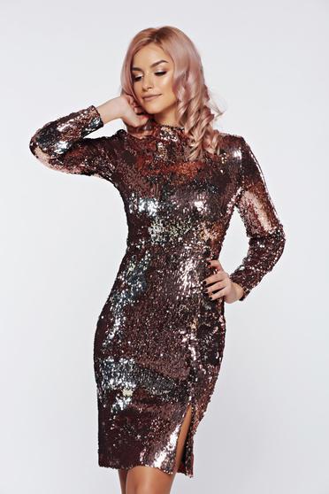 Ezüst StarShinerS alkalmi flitteres ruha belső béléssel
