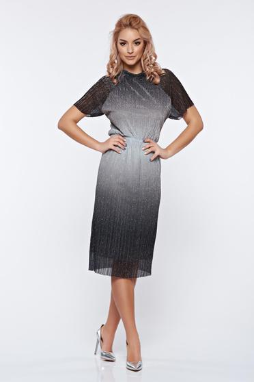 Ezüst StarShinerS alkalmi ruha fémes jelleg derékban rugalmas