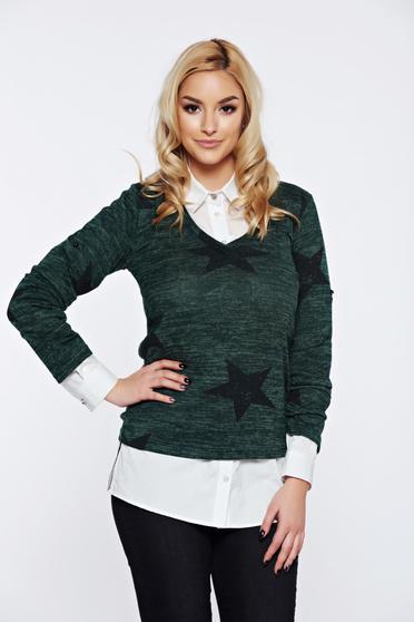 Türkiz PrettyGirl hétköznapi bő szabású pulóver v-dekoltázzsal