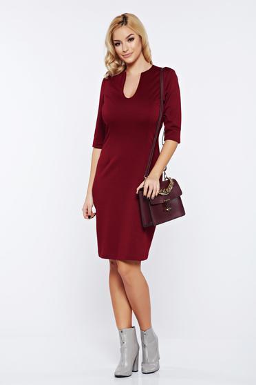 Burgundy PrettyGirl irodai ruha v-dekoltázzsal rugalmas anyagból
