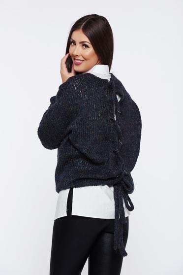 Sötétszürke PrettyGirl hétköznapi bő szabású kötött pulóver