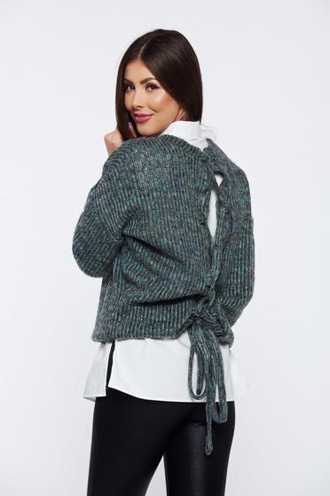 Zöld PrettyGirl hétköznapi bő szabású kötött pulóver