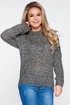 Szürke PrettyGirl hétköznapi bő szabású kötött pulóver