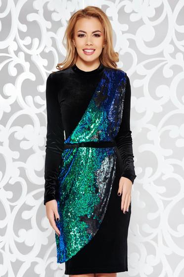 Zöld StarShinerS ruha flitteres díszítés bársony alkalmi