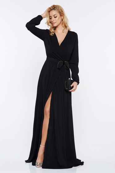 Fekete StarShinerS ruha alkalmi harang v-dekoltázzsal