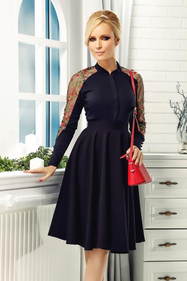 Fekete elegáns Fofy pamutból készült női ing hímzett betétekkel