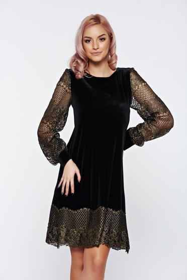 Fekete LaDonna elegáns bő szabású hosszú ujjú ruha