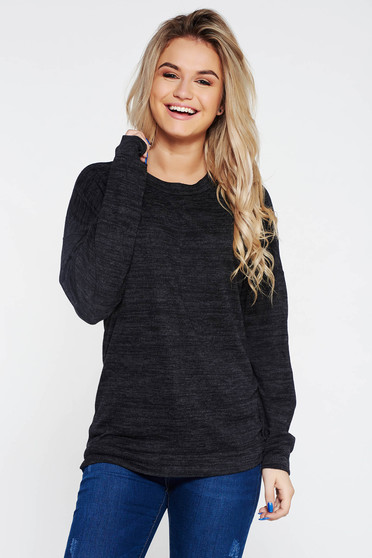 Sötétszürke PrettyGirl hétköznapi bő szabású pulóver
