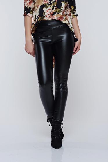 Fekete PrettyGirl hétköznapi derékban rugalmas műbőr nadrág