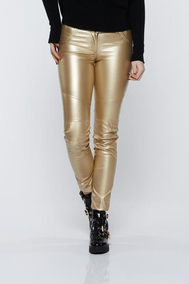 Arany Ocassion hétköznapi nadrág fémes jellegű öko bőr