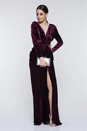 Lila Ana Radu estélyi ruhák szirén tipusú bársony ruha mély dekoltázs