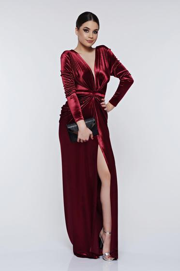 Burgundy Ana Radu estélyi ruhák szirén tipusú bársony ruha mély dekoltázs