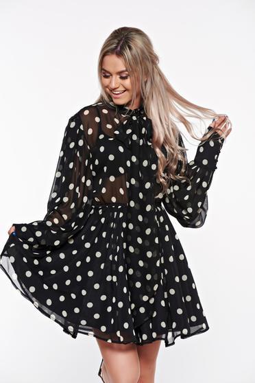 Fekete Ana Radu derékban rugalmas harang ruha fátyol anyagból