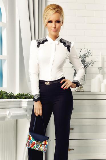 Fehér pamutból készült elegáns Fofy női ing csipke díszítéssel