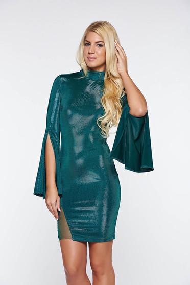 Zöld Artista rövid alkalmi ruha harang ujjakkal