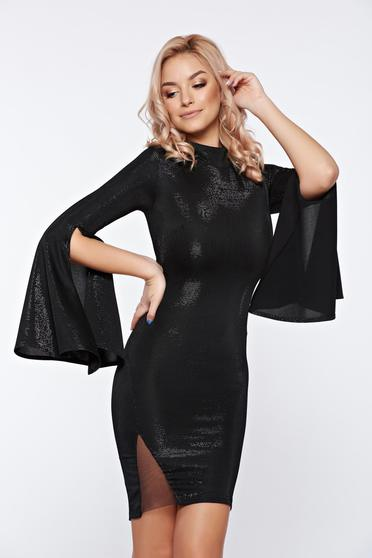 Fekete Artista rövid alkalmi ruha harang ujjakkal