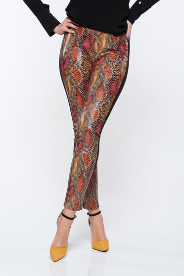 Barna PrettyGirl szűk szabású normál derekú nadrág