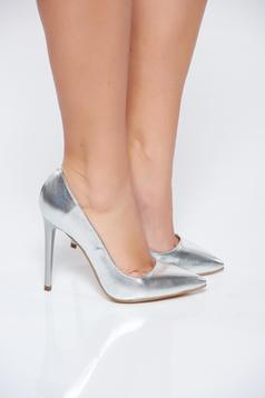 Ezüst stiletto magassarkú cipő