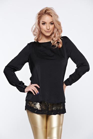 Fekete PrettyGirl elegáns bő szabású női blúz szatén anyagból