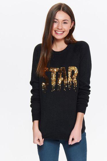 Fekete Top Secret hétköznapi bő szabású pulóver flitteres díszítéssel