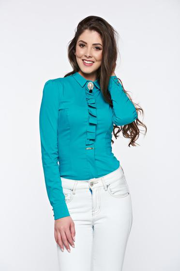 Türkiz Fofy irodai női ing bross kiegészítővel