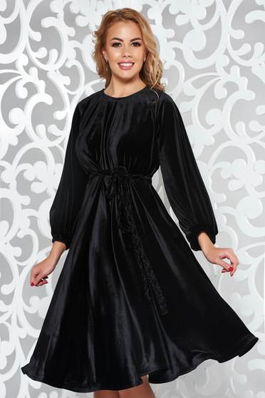 Fekete Artista alkalmi bő szabású bársony ruha