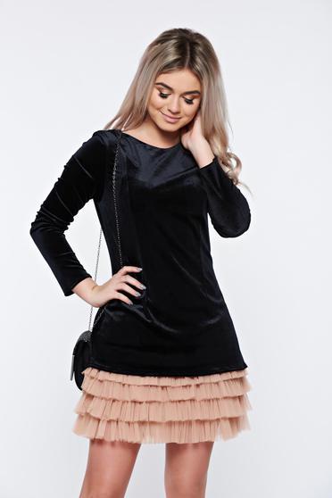 Fekete Ana Radu elegáns bársony ruha tűl kiegészítővel