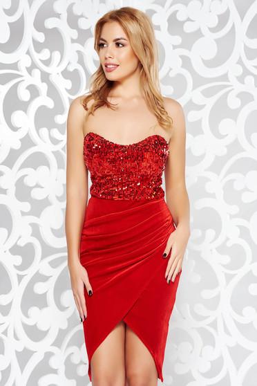 Piros Artista ruha alkalmi átfedéses bársony flitter váll nélküli