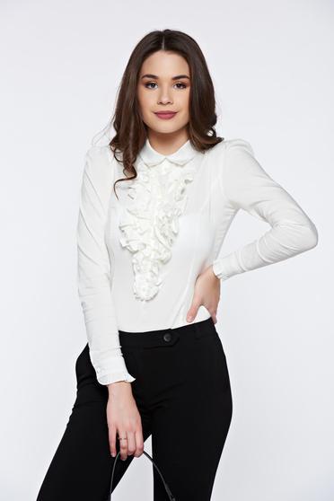 Fehér Fofy női ing irodai hegyes gallér fodrok a mellrészen
