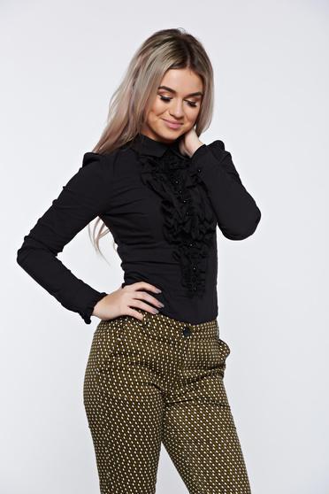 Fekete Fofy női ing irodai hegyes gallérral fodrokkal a mellrészen