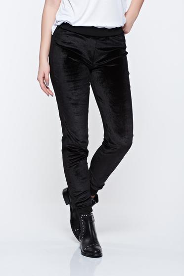 Fekete PrettyGirl hétköznapi bársony nadrág derékban rugalmas