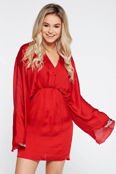 Piros PrettyGirl derékban rugalmas party ruha lenge anyagból