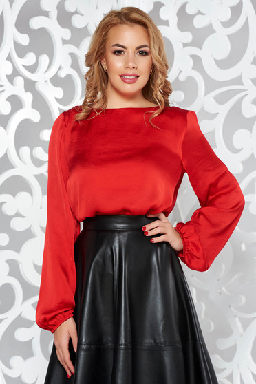 Piros PrettyGirl elegáns női blúz kivágott hátrész szatén jellegű