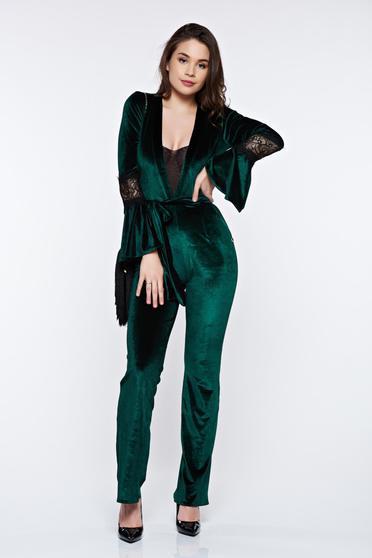 Zöld PrettyGirl elegáns overál bársony övvel ellátva
