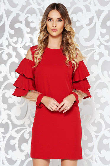 Piros PrettyGirl alkalmi ruha fodrozott ujjakkal