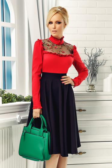 Piros Fofy elegáns pamutból készült hímzett női ing