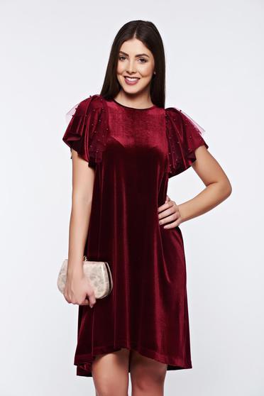 Burgundy StarShinerS bő szabású alkalmi bársony ruha