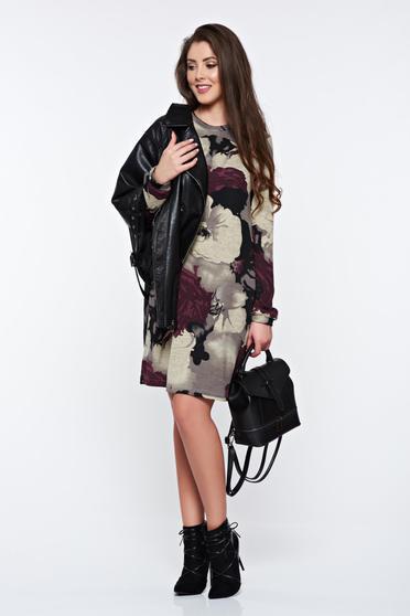 Lila StarShinerS hétköznapi bő szabású virágmintás ruha