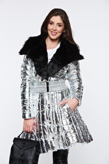Ezüst Ocassion hétköznapi dzseki műszőrme berakásokkal