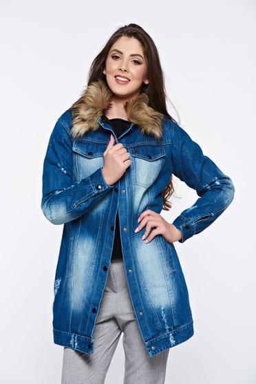 Kék Ocassion dzseki hétköznapi farmerarnyagból bundabélessel ellátva