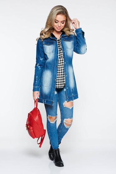 Kék Ocassion casual dzseki farmerarnyagból műszőrme berakások