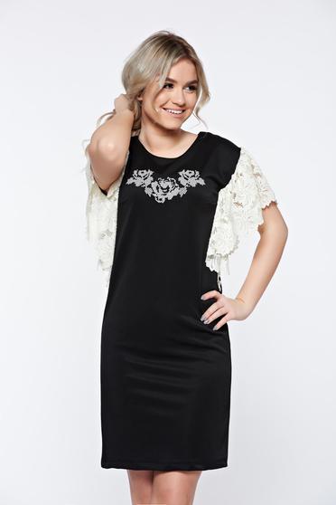 Fekete StarShinerS bő szabás hímzett ruha csipke díszítéssel