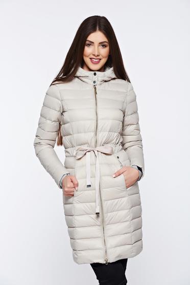 Bézs Top Secret hétköznapi hosszú ujjú belső béléssel dzseki vízhatlan anyagból a kapucni nem távolítható el