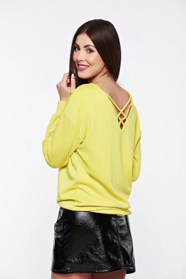 Sárga Top Secret hétköznapi bő szabás női blúz rugalmas anyagból